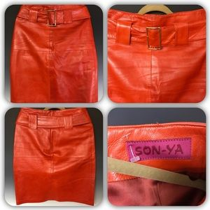 SONYA Orange Leather Skirt